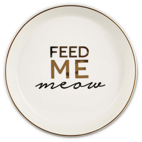 Harmony White Feed Me Meow Cat Saucer
