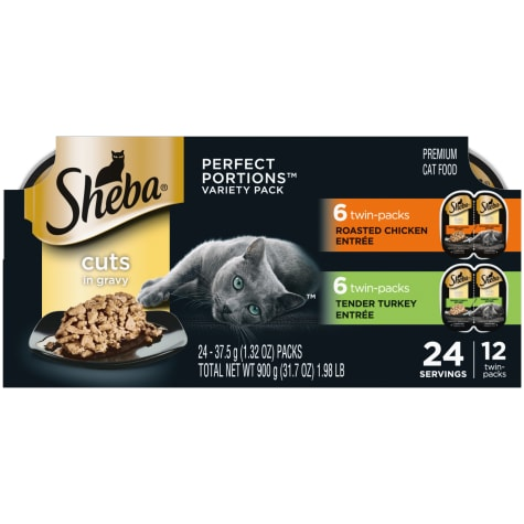 Sheba Perfect Portions Multipack Cuts in Gravy Roasted Chicken and Tender Turkey Entree Wet Cat Food