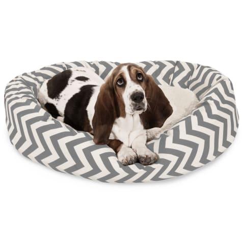 Majestic Pet Grey Chevron Sherpa Bagel Dog Bed