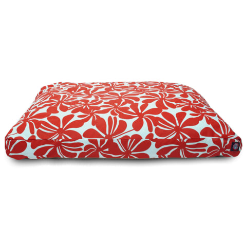 Majestic Pet Red Plantation Shredded Memory Foam Rectangle Dog Bed