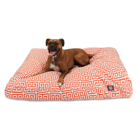 Majestic Pet Orange Towers Shredded Memory Foam Rectangle Dog Bed