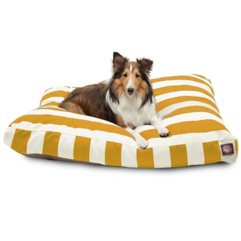 Majestic Pet Yellow Vertical Stripe Shredded Memory Foam Rectangle Dog Bed