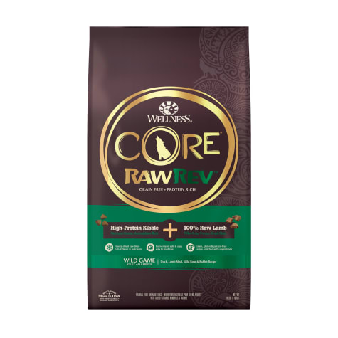 Wellness CORE RawRev Natural Grain Free Wild Game Duck, Lamb, Wild Boar & Rabbit w/ Freeze Dried Lamb Dry Dog Food
