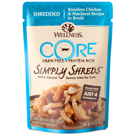 Wellness CORE Simply Shreds Natural Grain Free Wet Cat Food Mixer or Topper, Chicken and Mackerel