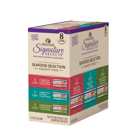 Wellness CORE Signature Selects Natural Canned Grain Free Cat Food Variety Pack, Seafood Selection Eight