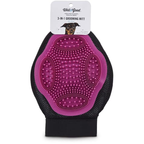 Well & Good Pink 3-in-1 Grooming Mitt for Dogs