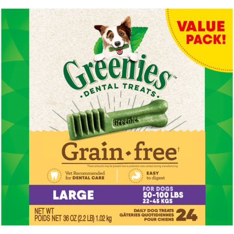 Greenies Grain Free Large Natural Oral Health Dog Dental Care Chews