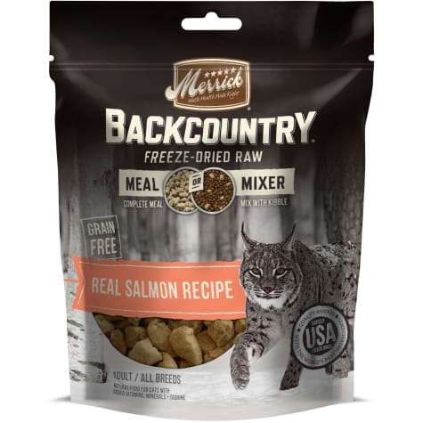 Merrick Backcountry Freeze-Dried Raw Real Salmon Recipe Meal Or Mixer Grain Free Adult Cat Food