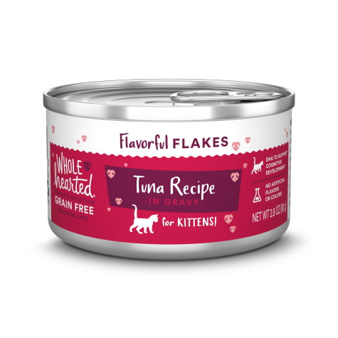 WholeHearted Canned Kitten Food - Grain Free Tuna Recipe Flaked in Gravy