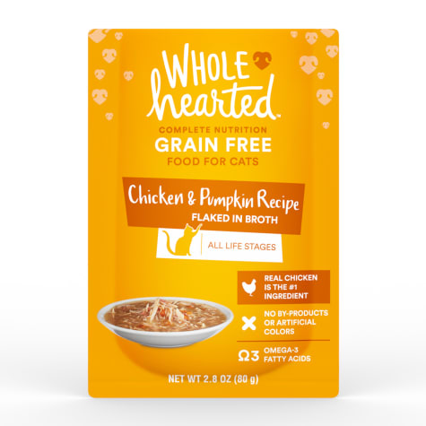 WholeHearted Grain Free Chicken & Pumpkin Recipe Flaked in Broth Wet Cat Food
