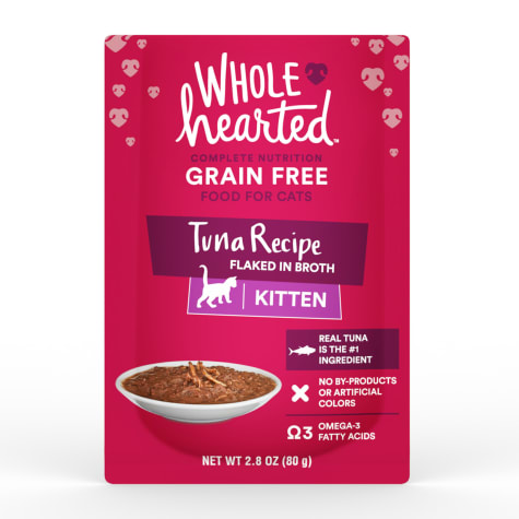 WholeHearted Grain Free Tuna Recipe Flaked in Broth Wet Kitten Food