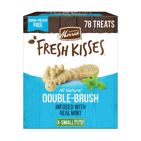 Merrick Fresh Kisses Mint Breath Strips Extra Small Brush Dental Dog Treats