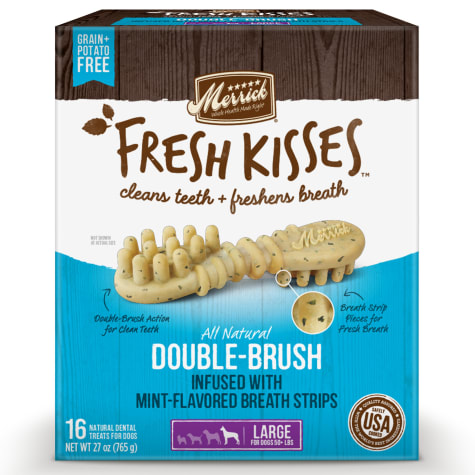 Merrick Fresh Kisses Mint Breath Strips Large Brush Dental Dog Treats