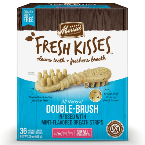 Merrick Fresh Kisses Mint Breath Strips Small Brush Dental Dog Treats