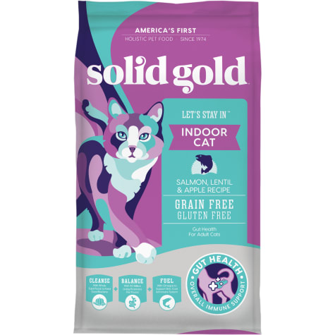 Solid Gold Let's Stay In Indoor Cat Salmon, Lentil & Apple Recipe for Adult Cats; Grain Free Dry Food with Superfoods