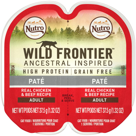 Nutro Wild Frontier Perfect Portions Pate Real Chicken and Beef Wet Cat Food Trays