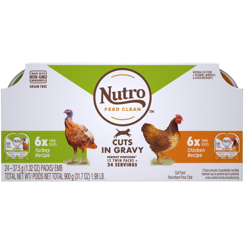 Nutro Perfect Portions Cuts in Gravy Variety Pack Real Turkey and Chicken Wet Cat Food
