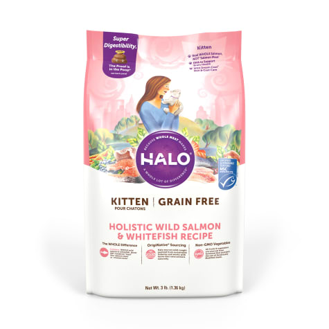 Halo Grain Free Kitten Holistic Wild Salmon & Whitefish Dry Cat Food