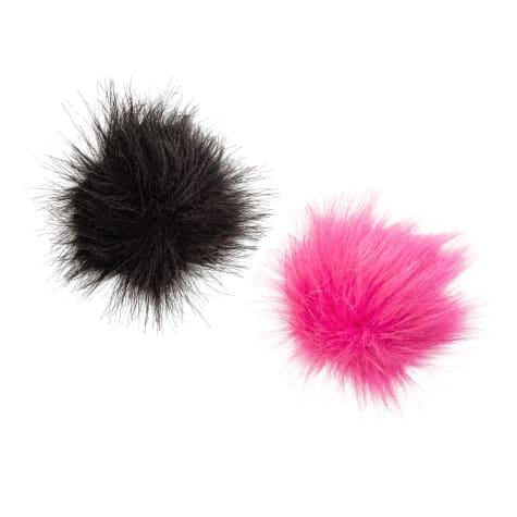 Bond & Co. Hot Pink and Black Dog Collar Pom-Pom Set