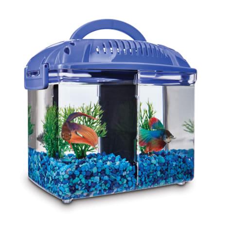 Imagitarium Betta Fish Dual Habitat Tank In Blue