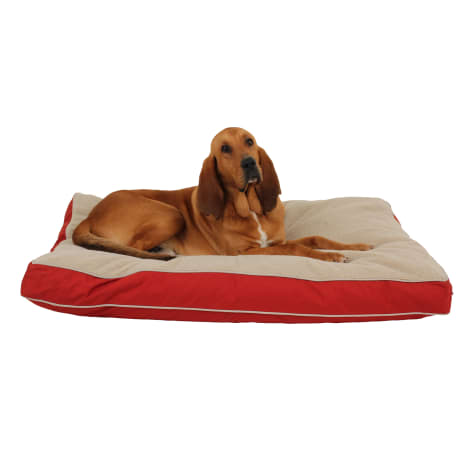 Carolina Pet Rectangular Napper with Berber Top in Red Canvas with Khaki Cording