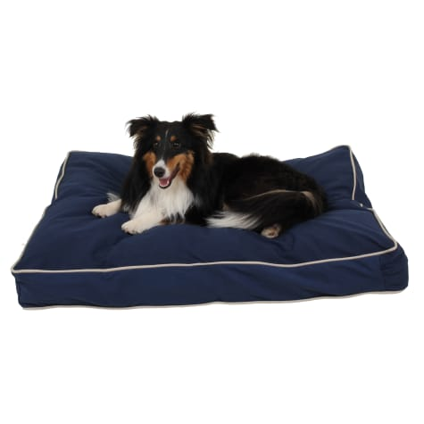 Carolina Pet Rectangular Napper in Blue Canvas with Khaki Cording