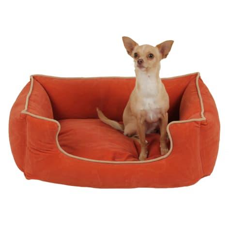 Carolina Pet Kuddle Lounge Low Profile Dog Bed in Apricot with Khaki Cording