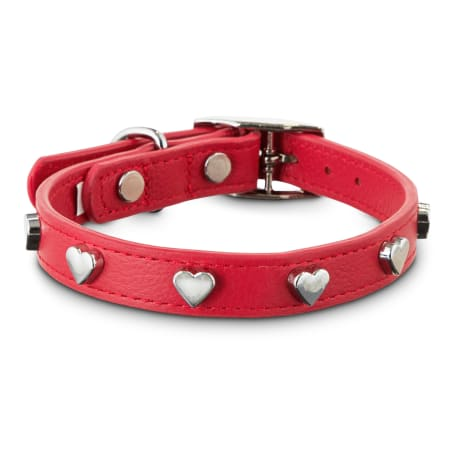 Bond & Co. All Heart Red Leather Dog Collar