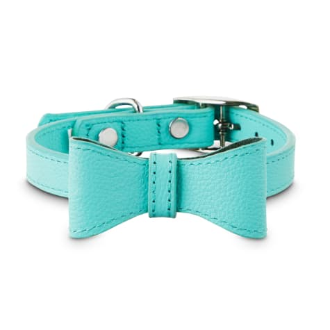 Bond & Co. Teal Leather Bow Tie Dog Collar