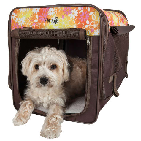 Pet Life, Floral Folding Collapsible Lightweight Wire Framed Tent Pet Crate - Brown/Red Floral