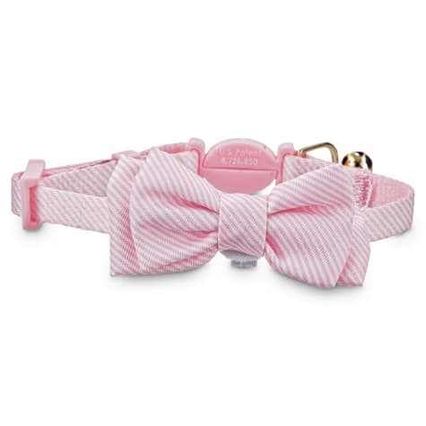 Bond & Co. Pink Seersucker Breakaway Bowtie Kitten Collar