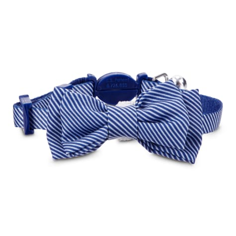 Bond & Co. Blue Seersucker Breakaway Bowtie Kitten Collar