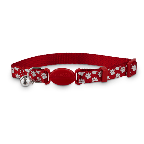 Good2Go Red Shiny Paws Breakaway Cat Collar
