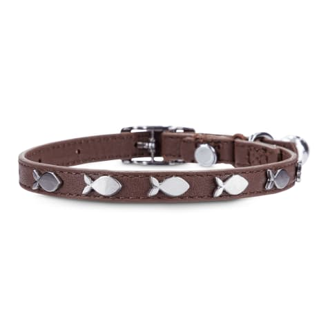 Bond & Co. Fish-Charm-Studded Brown Leather with Safety Stretch Cat Collar