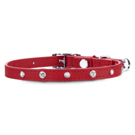 Bond & Co. Bejeweled Red Leather with Safety Stretch Cat Collar