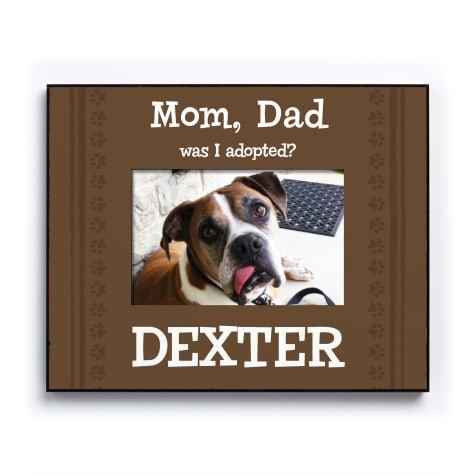 Custom Personalization Solutions Was I Adopted Personalized Dog Frame Brown