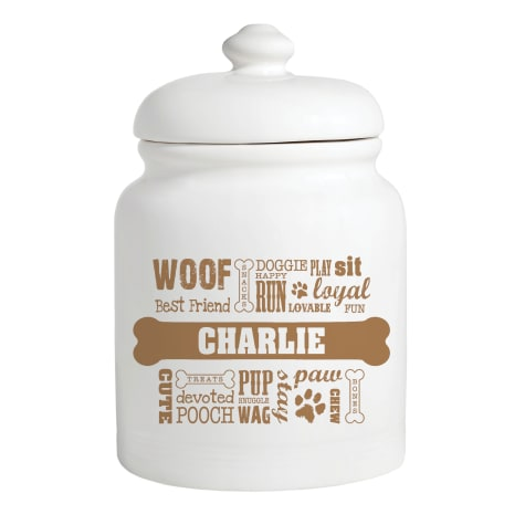 Custom Personalization Solutions Personalized Dog Words Treat Jar Brown