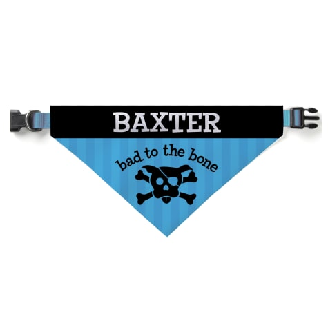 Custom Personalization Solutions Personalized Bad To The Bone Dog Bandana Collar Cover Blue