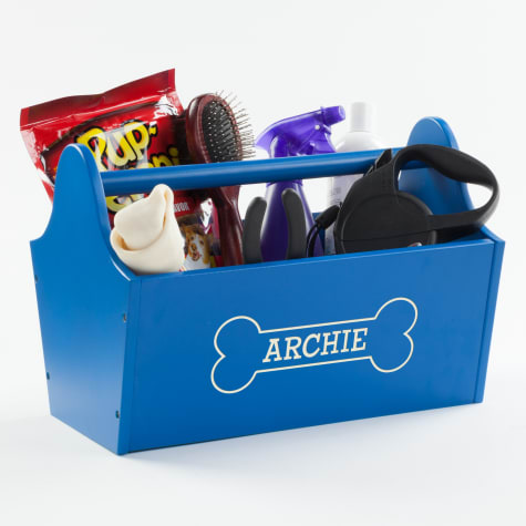Custom Personalization Solutions Personalized Sweet Dog Storage Caddy Blue