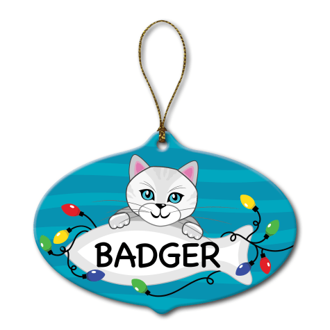 Custom Personalization Solutions Personalized Ceramic Cat Ornament White