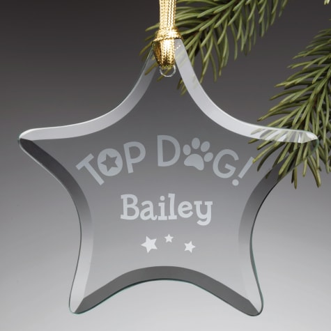 Custom Personalization Solutions Personalized Top Dog Glass Star Ornament