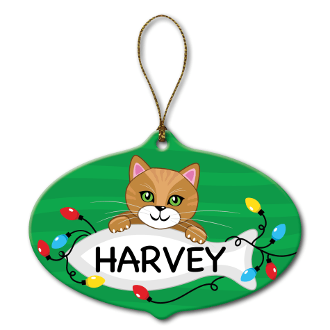 Custom Personalization Solutions Personalized Ceramic Cat Ornament Gold