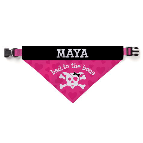Custom Personalization Solutions Personalized Bad To The Bone Dog Bandana Collar Cover Pink