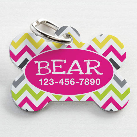 Custom Personalization Solutions Personalized Pet Tag Chevron Pink