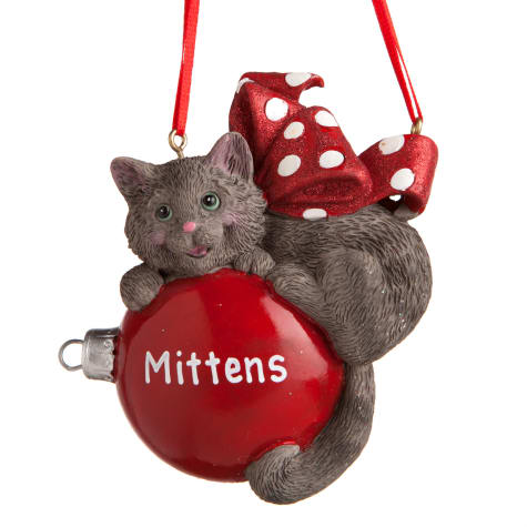 Custom Personalization Solutions Personalized Cat Ornament Gray