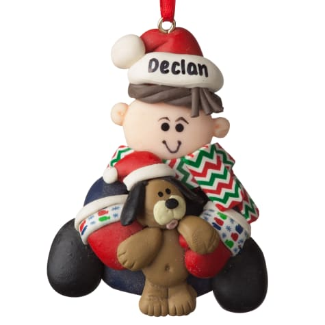 Custom Personalization Solutions Personalized Boy With Dog Ornament