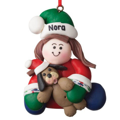 Custom Personalization Solutions Personalized Girl With Dog Ornament