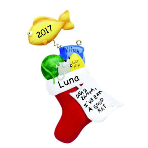 Custom Personalization Solutions Personalized Stocking Ornament For Cat