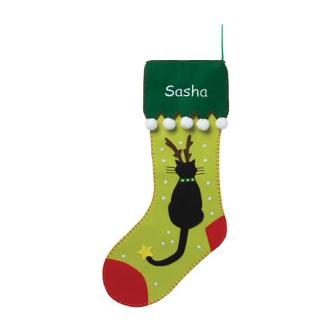 Custom Personalization Solutions Personalized Cat With Antlers Stocking