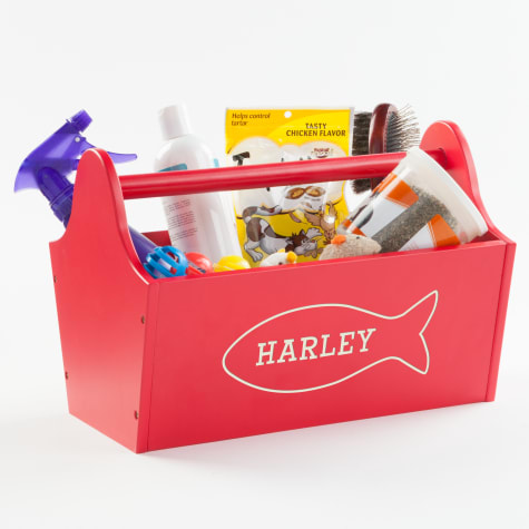 Custom Personalization Solutions Personalized Sweet Cat Storage Caddy Red